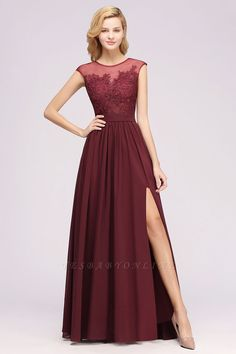 A-line Lace Jewel Sleeveless Floor-Length Bridesmaid Dresses with Appliques | Yesbabyonline.com