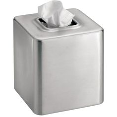Gia Stainless Steel Tissue Box ($30) ❤ liked on Polyvore featuring home, bed & bath, bath, bath accessories, stainless steel bathroom accessories, stainless bathroom accessories, tissue box holder, tissue box and stainless steel bath accessories