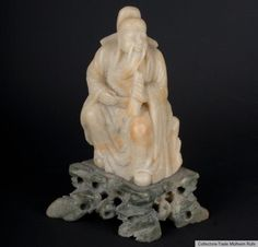 China 20. Jh. A Chinese Carved Soapstone Figure of CAO GUOQUI Cinese Chinoise