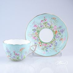 Herend Porcelain Tea Cup with Saucer – Herend Four Seasons pattern.