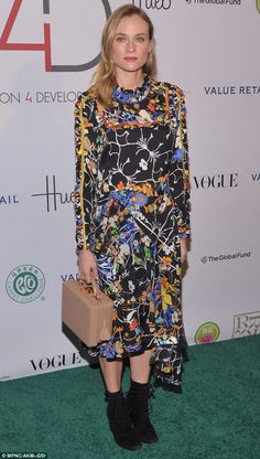 Diane Kruger in Preen dress, Mark Cross box bag - Fashion 4 Development's 5th Annual Official First Ladies Luncheon in New York City.  (28 September 2015)
