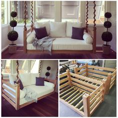 """The """"Ion"""" Swing Bed Package - Pallet ideas Pallet Furniture, Furniture Projects, Home Projects, Home Furniture, Furniture Making, Bedroom Furniture, Diy Home Decor On A Budget, Cheap Home Decor, Porch Swing"""