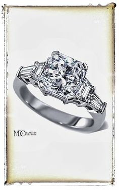 Radiant Cut diamond Engagement Ring trapezoids and baguettes