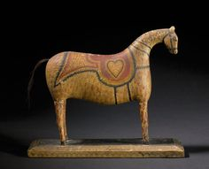 wood carved horse by George Lawton, 1840-1860, Rhode island, polychrome