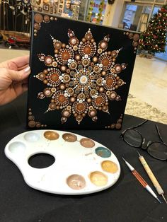 Best 10 7 chakras Mandala on inches wood circles by Pierre du Coeur – SkillOfKing. Dot Art Painting, Mandala Painting, Stone Painting, Mandala Canvas, Mandala Rocks, Mandala Pattern, Pebble Art, Stone Art, Craft Gifts