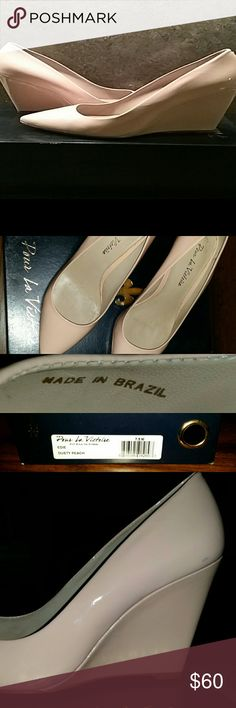 Pour la Victorie Patent leather heels Like new worn only once! Extremely comfortable and have extra cushion under ball of foot. Beautiful peach color. High quality made in Brazil shoes with original box. Slight discoloration from jeans visible in pic 3- let me know if you're interested or have any questions ???? Pour la Victoire Shoes