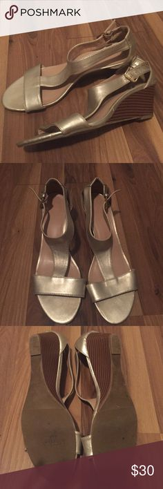 Metallic gold wedges, t-strap sandals Worn one time. Size 9.5. Perfect low wedge sandal for summer wedding.  Metallic gold.  No scuffs. 9&Co. Shoes Wedges
