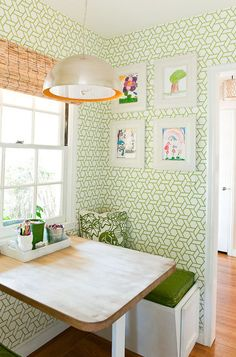 Cheerful green nook, Trellis Manuel Canovas wallpaper, butcher block tabletop, bamboo blind and warm orange inside the Arteriors pendant    Cristin Priest