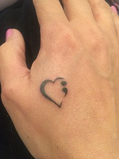 Semi Colon Heart Tattoo Suicide Prevention