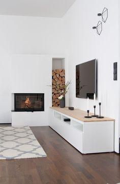 Mobilier design salon cheminée - Zuhause ist's am schönsten - Living Room Tv, Living Room With Fireplace, Living Room Interior, Home And Living, Modern Living, Lobby Interior, Minimalist Living, Muebles Rack Tv, Design Salon