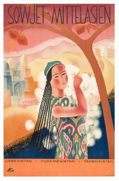 #High quality giclee fine art reprint of a 1930s Soviet travel poster designed for the State Travel Company Intourist, available at www.AntikBar.co.uk. Advertises Sowjet-Mittelasien (Soviet Middle Asia): Uzbekistan, Turmenistan, Tajikistan. # We cover the world over 220 countries, 26 languages and 120 currencies Hotel and Flight deals.guarantee the best price multicityworldtravel.com