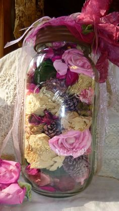 Rose Filled Mason Jar Pink Altered Floral by RomanticallyVintage