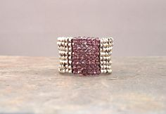 Statement ring Beadwoven of Silver Delicas and by mostlybeads, $28.00