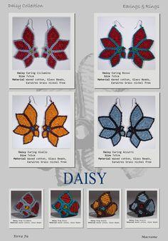 Daisy Earing & Ring; Terra Fu Macrame; Ciclamino, Rosso, Giallo, Azzurro