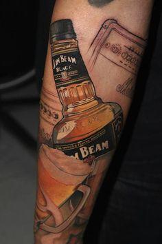 Jim Beam by Victor Chil | tattoo artist – Barcelona, Spain