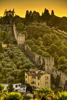 View of a remaining section of the wall that surrounded Florence in medieval times that goes from Forte Belvedere down to the Porta San Miniato in the San Niccolo area of Florence.