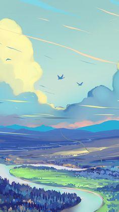 Wei e blaue Wolken Tal Fluss Berge Kunstwerk Tapete - Fantasie - Blue Phone Wallpaper e Wallpaper Animes, Anime Scenery Wallpaper, Pastel Wallpaper, Blue Wallpapers, Nature Wallpaper, Wallpaper Backgrounds, Phone Wallpapers, Blue Wallpaper Phone, Cloud Wallpaper