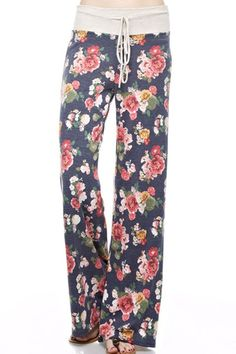 "- 95% Polyester/5%Spandex - Machine Wash - Comfy and Soft Floral Print Pajama Pants - Adustable Drawstring Waistband for Added Comfort - 31"" Inseam and Wide Leg Bottom - Perfect for Sleeping or Loungi"