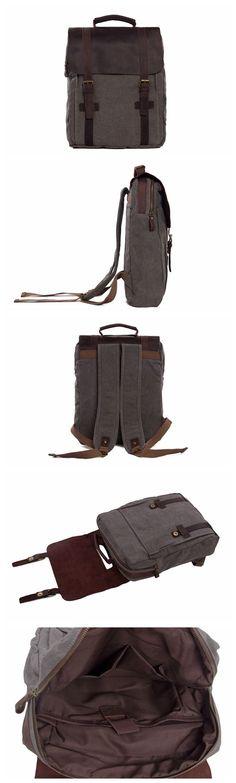 """Hot Sale Canvas Leather Backpack, Waxed Canvas Shoulder Bag School Backpack 1820 Model Number: 1820 Dimensions: 13""""L x 4.3""""W x 16.5""""H / 33cm(L) x 11cm(W) x 42cm(H) Weight: 3.3 lb / 1.5kg Hardware: Bra"""