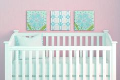 Pink + Blue + Green #nursery