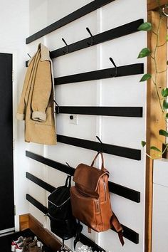 a Giant Minimalist Coat Rack — The Sorry Girls - Stay organized and minimal with this DIY coat rack! -Building a Giant Minimalist Coat Rack — The Sorry Girls - Stay organized and minimal with this DIY coat rack! Diy Coat Rack, Diy Shoe Rack, Coat Racks, Shoe Racks, Coat Hanger, Home Decor Accessories, Decorative Accessories, Vintage Accessories, Diy Montessori