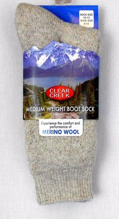 Merino Wool Blend Boot Socks Beige Mens Sz 10 - 13 Solid Clear Creek Christmas - Experience the comfort and performance of merino wool while wearing these mens boot socks which are ideal for Fall and Winter outdoor work or sporting events and activities.