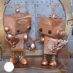 Steampunk Robots Cake Topper 08, already sold, but easy to make  Check out shop's sold items. Tons of variations, all cute.