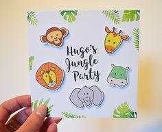 Une Jungle Party pour ses 2 ans ! Rendez-vous sur le blog pour découvrir la carte d'invitation recto/verso et la décoration pour le goûter d'anniversaire !