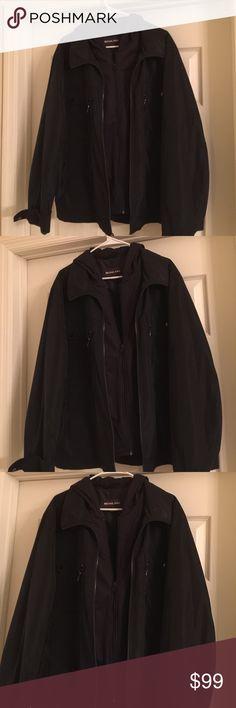 AUTH MICHAEL KORS MENS BLACK ZIPPER JACKET W/HOOD New w/tags, 2 front zippers, lots of pockets MICHAEL Michael Kors Jackets & Coats