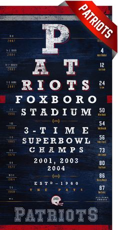 A perfect gift for any diehard New England Patriots fan, score a touchdown with this one-of-kind eye chart. Proudly display the Patriots winning the