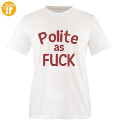 Comedy Shirts - Polite as FUCK - Herren T-Shirt - Weiss / Rot Gr. XL - Shirts mit spruch (*Partner-Link)