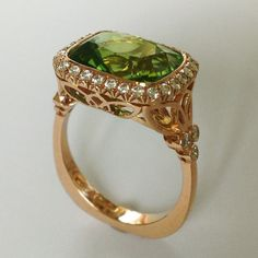 Dalben Peridot Diamond Gold Ring | From a unique collection of vintage fashion rings at https://www.1stdibs.com/jewelry/rings/fashion-rings/