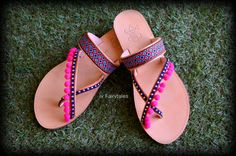 Boho  Pom Pom Sandals YVONI  Greek Sandals  Ethnic by jvFairytales Boho Sandals, Greek Sandals, Gladiator Sandals, Leather Sandals, Pom Pom Sandals, Light Beige, Trending Outfits, Unique Jewelry, Handmade Gifts