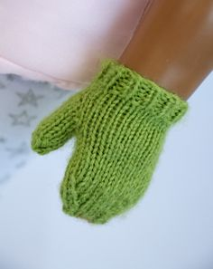 18 inch doll mitten's. Working on a cozy feet and hands knitting pattern bundle. Soo cute. #18 inch #American Girl #knitting pattern #mittens