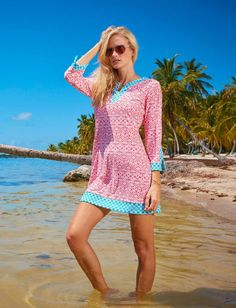 Ladies Beach Tunic, Coral - UPF50+