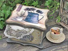 """Купить Большая чайная шкатулка """"JARDIN"""" - бежевый, чайная шкатулка, чайный короб, чайный домик"""