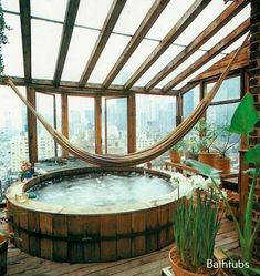 Dreaming of a bath under the stars. jacuzzi whirlpool and hot bathtubs- From Moon to Moon it would be nice to have the hamock in the bath Bohemian House, Bohemian Interior, Boho Gypsy, Hippie Boho, Interior Exterior, Exterior Design, Room Interior, Deco House, Future House