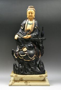 Chinese Qing Ivory And Zitan Guanyin, carved.