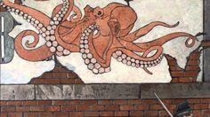 "Mosaic tile work by artist Chris Sumka, ""See-ya at the Pub"""