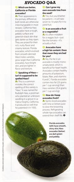 California vs. Florida Avocados  (Source: Coastal Living Magazine, March 2011)