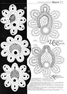 Irish crochet Motif with diagram #2