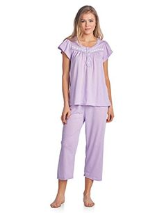 Special Offer: $18.99 amazon.com Hit the sack in total comfort with these Soft and lightweight Knit Pajama Sleep Set in a fun Floral pattern Capri Length Pants with an elastic drawstring waist for comfort, Shirt Features Short Sleeves, 4 Button closure, Embroidery, lace Trim and flattering...