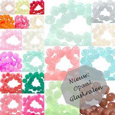 *NIEUW* Opaal glaskralen in heel veel leuke kleurtjes.   www.bykaro.nl voor kralen, bedels en meer...