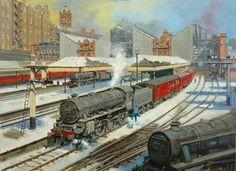 How Clean Oil Painting Uk Rail, Nostalgic Art, Steam Railway, Painting Snow, Train Art, Railway Posters, Old Trains, British Rail, David