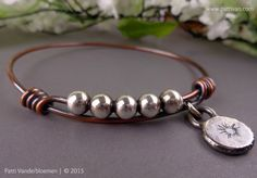 Mixed Metal Copper and Sterling Silver Bangle with Handcrafted Charm