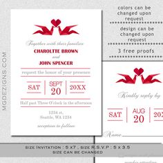 Printable red origami cranes and heart Wedding invitation templates