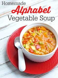 Better than Campbell's! This homemade Alphabet vegatable Soup has no sketchy ingredients and is super quick! Very kid friendly recipe.