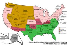 Image result for map of united states in 1862