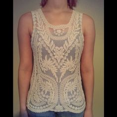 "Express Lace Tank This tank has only been worn once! It shows no wear. It is a cream color lace top with gorgeous designs. It is approximately 17"" across bust when laid flat and 24"" from shoulder to hem. Express Tops Tank Tops"