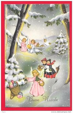 BUON NATALE - PAESAGGIO - DONI - LANTERNA - ANGELI  - Christmas